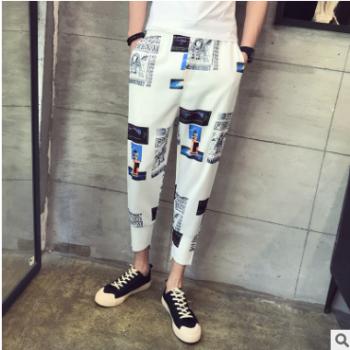 个性潮流图案9分休闲裤子男花色宽松束口哈伦裤薄款夏季印花九分