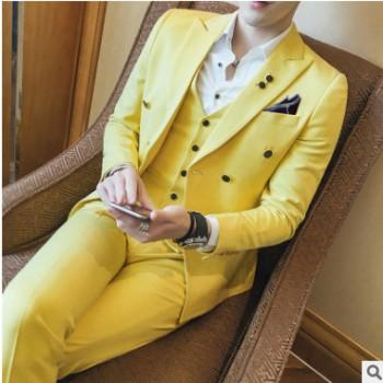 炒鸡好看男士六色百搭韩版修身西服套装青年闷骚发型师西装三件套