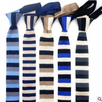 新款懒人领带男士女士针织领带韩版6cm平头领带厂家定制针织领带