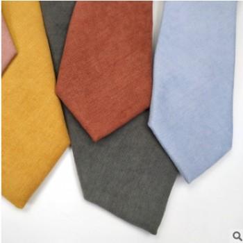 灯芯绒领带 男女通用7cm纯色领带韩版休闲手打中性印花领带