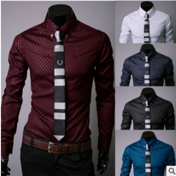外贸速卖退男士长袖衬衫韩版时尚暗格修身男装衬衣休闲上衣批发