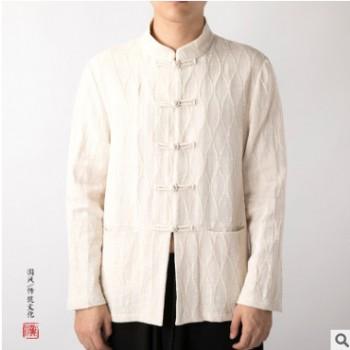 唐装男士亚麻长袖衬衫盘扣禅修服棉麻中国风复古式汉服古风男装潮