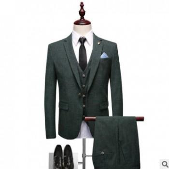 潮品男式英伦修身西装三件套男士精品时尚西服套装潮男爆款小西服