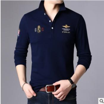 中青年男装长袖T恤男士翻领Polo衫休闲纯色棉质打底衫男修身T恤潮