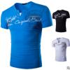 跨境货源夏装新款男式V领T恤欧美假两件字母印花短袖打底衫男8825