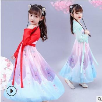秋季新款童装汉服女童儿童超仙古装民族风齐胸襦裙宝宝唐装连衣裙