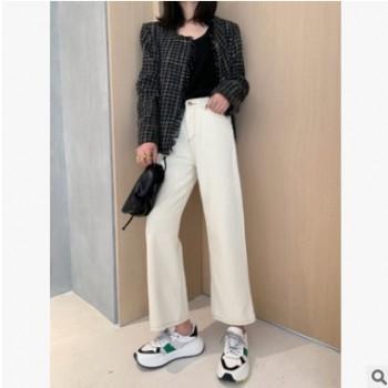 2019秋季新款复古直筒明线设计米色牛仔裤女休闲长裤