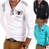 外贸 亚马逊男式爆款T恤 欧美男式个性V领纽扣装饰休闲短袖T恤衫
