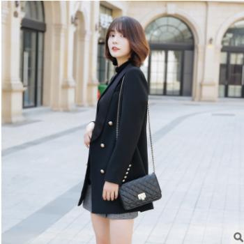 2018秋装新款黑色双排扣中长款显瘦修身气质时尚帅气小西装女外套