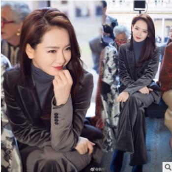 金丝绒西服套装女高端2019春秋新款丝绒气质网红小西装外套两件套