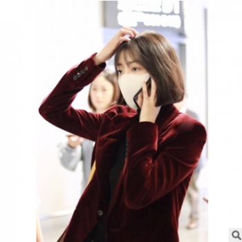 李溪芮明星同款酒红色丝绒小西装女休闲百搭修身显瘦复古西服外套