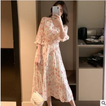2019韩版夏天裙子仙女超仙森系V领高腰碎花连衣裙女中长款雪纺裙