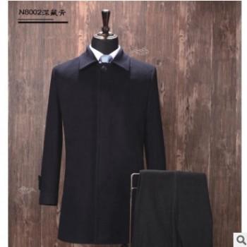 供应新款男士毛呢大衣职业装 OL通勤翻领暗门襟男士毛呢修身气质