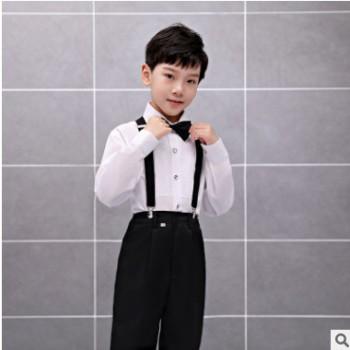 童装2019新款春装领结白色西装潮范儿纯棉背带中性西装套装