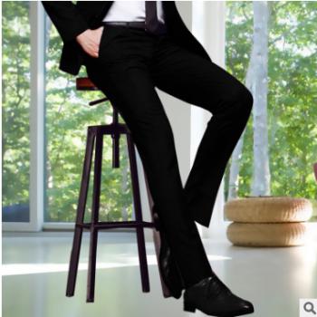 男装西裤男式商务男士西裤修身直筒黑色西装裤正装上班免烫西裤