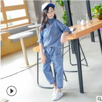 女童牛仔套装2019新款秋装中大童韩版洋气时髦童装儿童网红两件套
