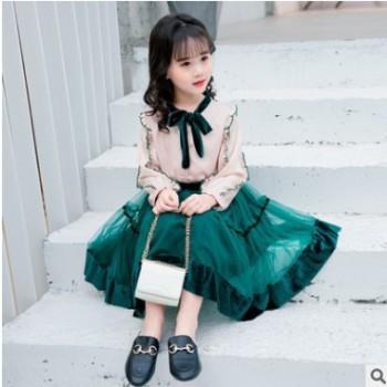 女童春装2019新款两件套韩版衬衫洋气纱裙两件套裙子小女孩儿童装