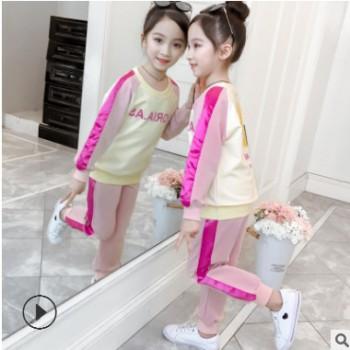 【秒杀】女童新款秋装网红小女孩衣服大童洋气儿童拼色运动套装