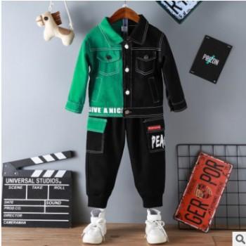 男童两色相拼牛仔套装2019秋季新款韩版男孩长袖秋装中小童两件套
