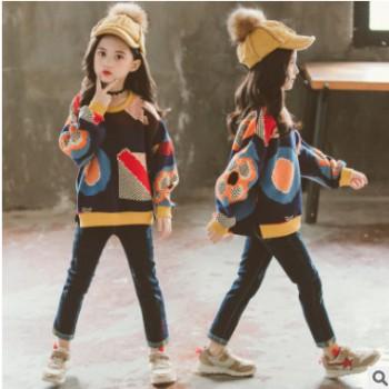 童装女童秋装新款套装时髦洋气牛仔裤儿童春秋网红韩版两件套