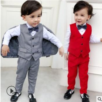 新款儿童英伦西服三件套装 小中大童欧美男童西装礼服厂家批发