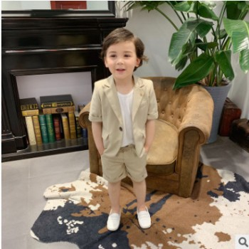 夏款韩版儿童西装套装男童西服中小童礼服短袖小孩六一演出表演服