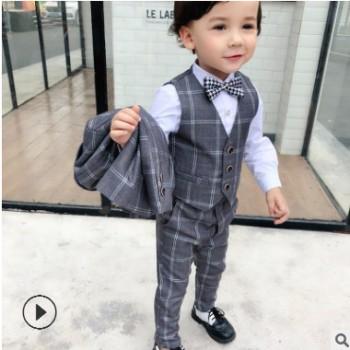 2018新款儿童 英伦西服三件套装 小中大童欧美格子礼服代理加盟