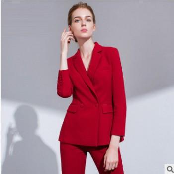 女装OL名媛气质红色西装套装新款时尚秋季职业装西服阔腿裤春秋
