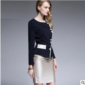 时尚职业装女装套装名媛气质粉色西装套裙正装西服OL工作服秋装