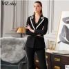 春季新款黑白撞色西装套装女气质修身职业微喇叭西服两件套