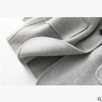 跨境新款韩版双面呢西装领修身女式毛呢外套双面羊毛大衣工厂批发