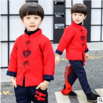 中国风童装2018儿童唐装男童秋冬装新年礼服男孩拜年服宝宝唐装潮
