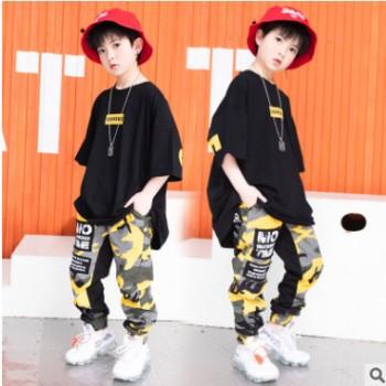 儿童迷彩裤短袖套装小学生男童街舞表演出服装夏男童嘻哈表演服潮