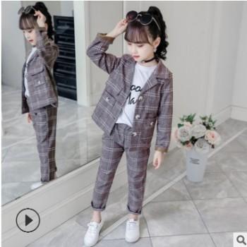 童装女童套装春装新款2019中大童韩版小西装格子洋气女孩两件套潮