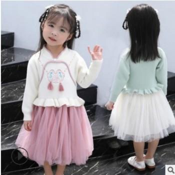 女童毛衣裙汉服洋气中国风宝宝秋装针织裙儿童水貂绒唐装超仙复古