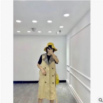 2019款秋季新款韩版女装宽松版水洗面料中长款拼接领时尚风衣马甲