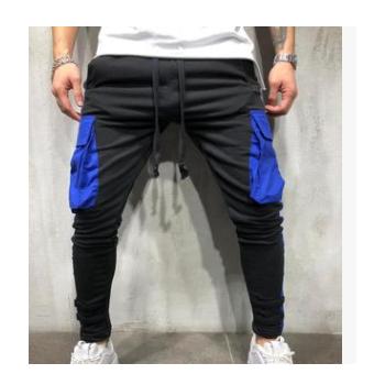 秋冬新款外贸时尚欧码男士休闲拼接长裤eBay织带大口袋小脚裤