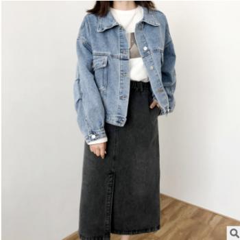 蓝黑两色牛仔半身裙 女2019秋季新款 韩版休闲牛仔裙263