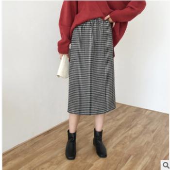 黑白小格子松紧腰半身裙 女2019秋季新款 韩版休闲A字裙A1632