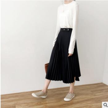 黑色灰色不规则百褶半身裙 女2019秋季新款 韩版休闲裙子A1536