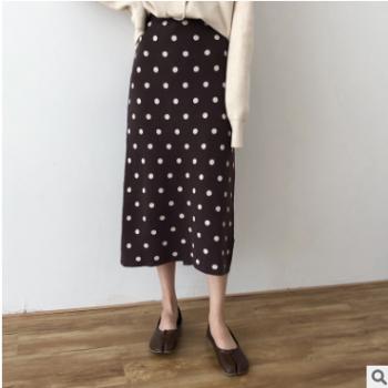 黑色咖色波点针织半身裙 女2019秋季新款 韩版休闲百搭长裙9919