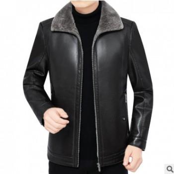 秋冬季中年皮衣男外套 男式皮毛一体翻领皮草夹克爸爸装一件代发
