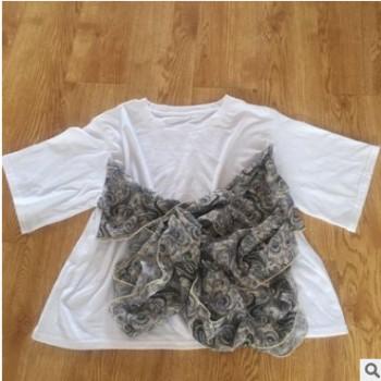 外贸原单 夏季新款女士清新棉圆领宽松短袖T恤 尾单批发