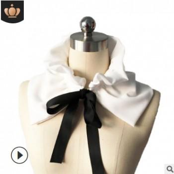 新款雪纺花边系带木耳边假领子女围脖领子系带装饰领韩版假领