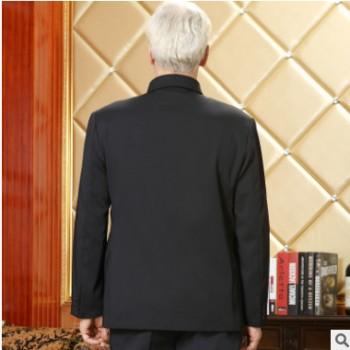 加绒加厚 中老年中山装秋冬厚款爸爸套装西服老年外套男式中山服