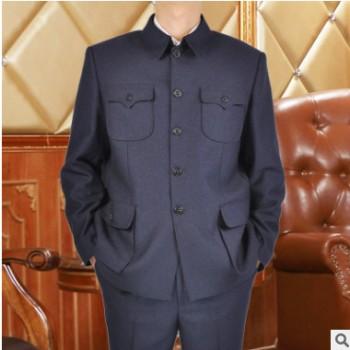 男式中老年中山装男 套装西服春秋款 老年人中山服爸爸装西服料