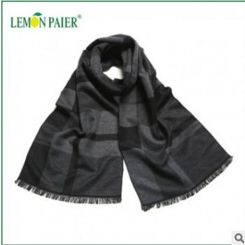 新款拉绒长巾 冬季保暖商务围巾 现货批发 男士大尺寸披肩