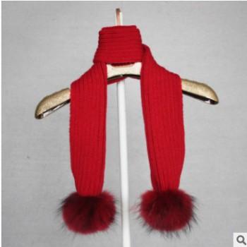 秋冬小孩儿童围巾 13CM配色纯色貉子毛球针织保暖宝宝围脖出口