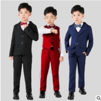儿童小西装婚礼节日花童男童礼服钢琴演出服中大童西装三/四件套