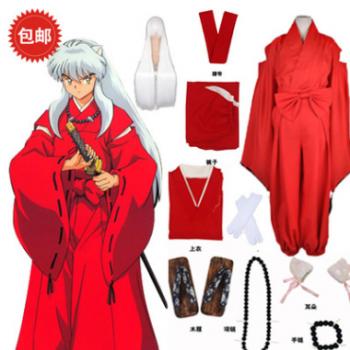 犬夜叉cos服 红色 和服 cosplay服装 全套衣服 动漫男装 假发耳朵